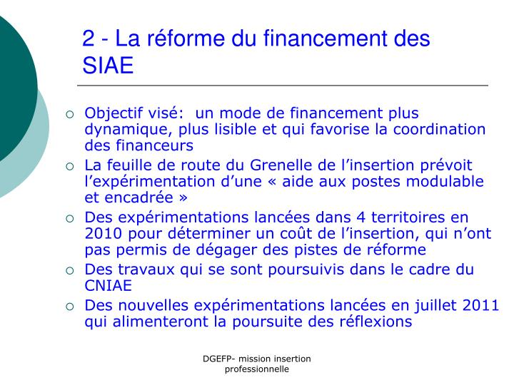 2 - La réforme du financement des SIAE
