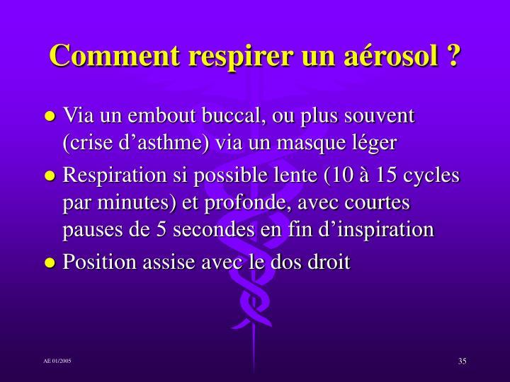 Comment respirer un aérosol ?