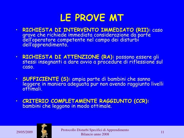 LE PROVE MT