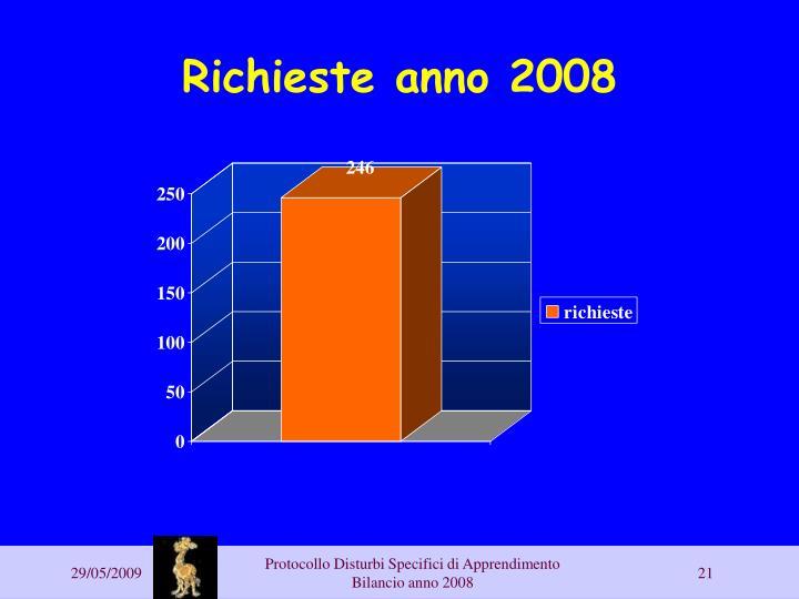 Richieste anno 2008