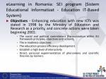 elearning in romania sei program sistem educational informatizat education it based system
