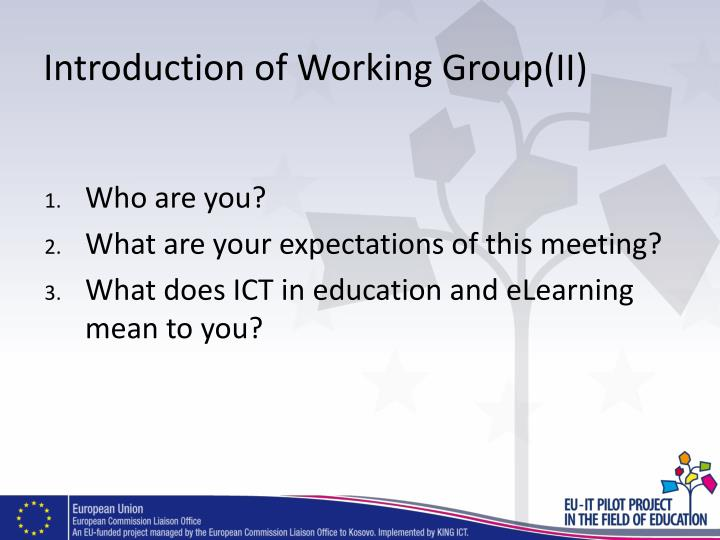 Introduction of Working Group(II)