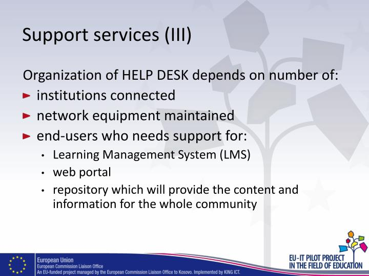 Support services (III)
