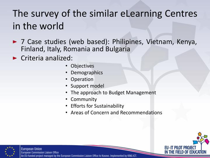 The survey of the similar eLearning Centres in the world