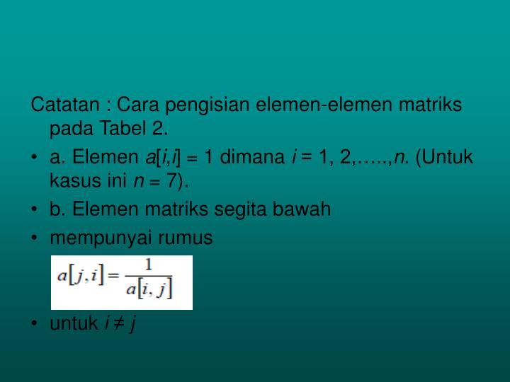 Catatan : Cara pengisian elemen-elemen matriks pada Tabel 2.