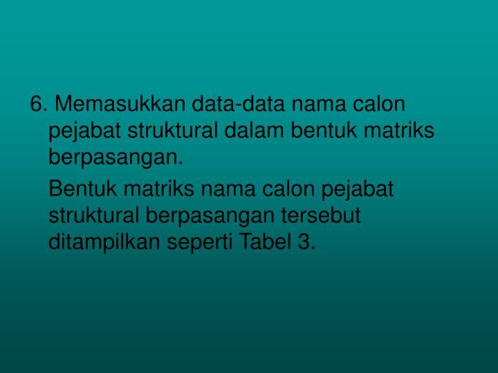 6. Memasukkan data-data nama calon pejabat struktural dalam bentuk matriks berpasangan.