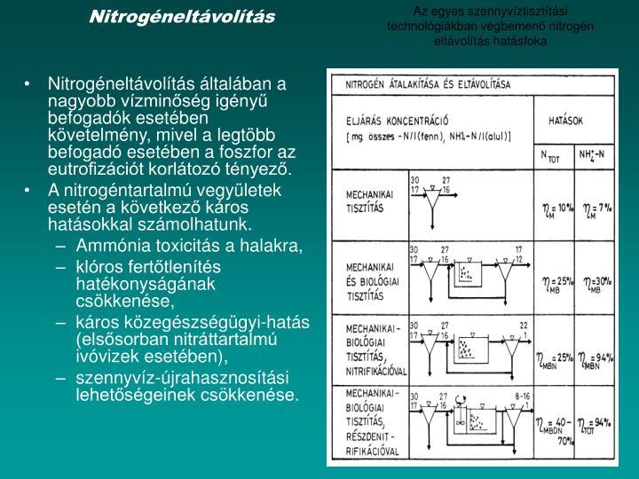 Az egyes szennyvíztisztítási technológiákban végbemenő nitrogén eltávolítás hatásfoka
