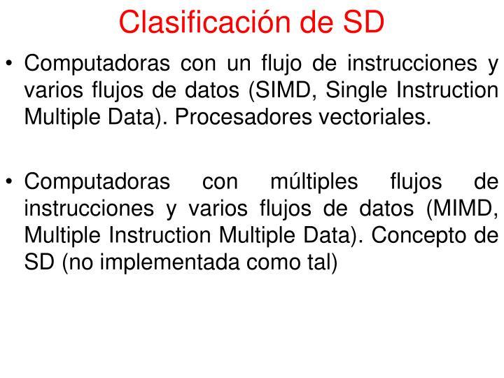 Clasificación de SD