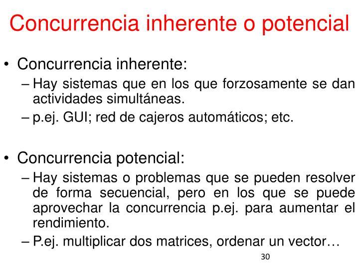Concurrencia inherente o potencial