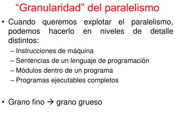 """""""Granularidad"""" del paralelismo"""