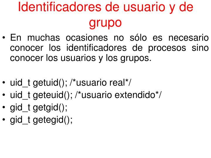 Identificadores de usuario y de grupo