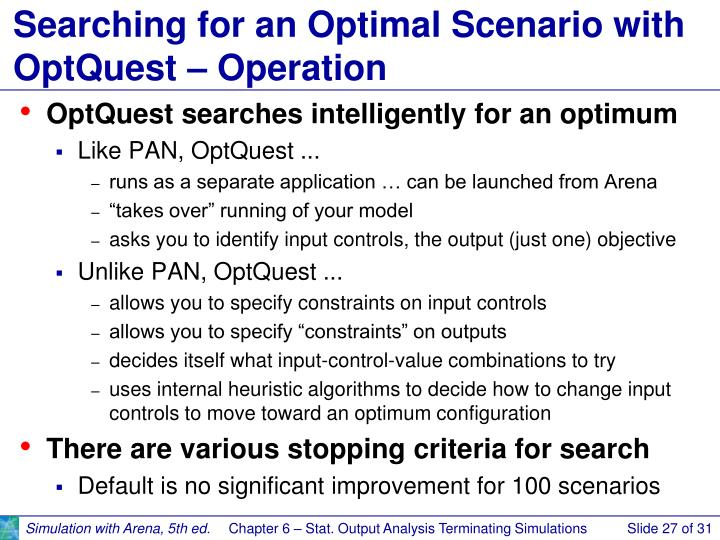 Searching for an Optimal Scenario with OptQuest – Operation