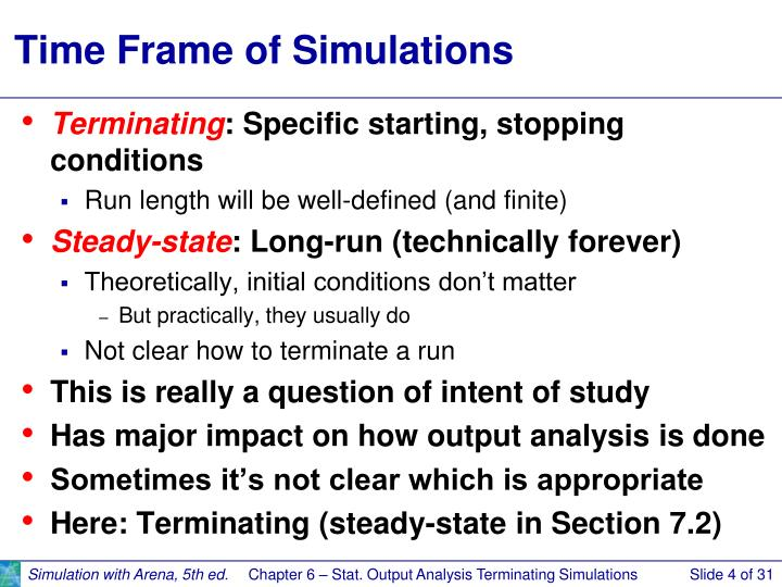 Time Frame of Simulations