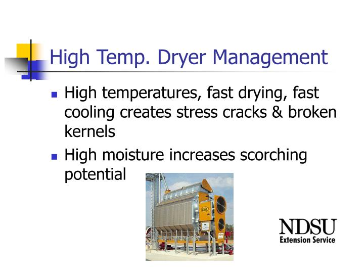 High Temp. Dryer Management