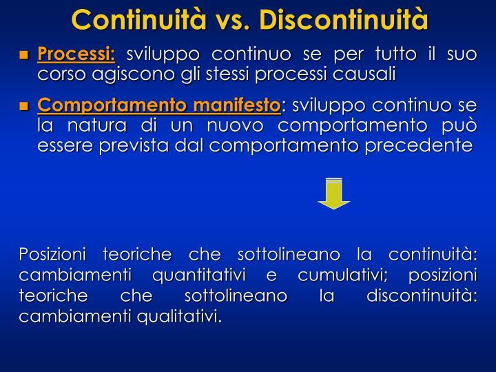 Continuità vs. Discontinuità