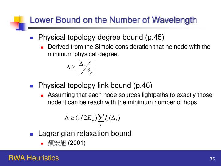 Lower Bound on the Number of Wavelength