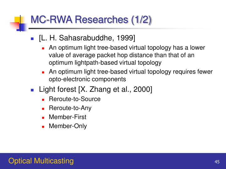 MC-RWA Researches (1/2)