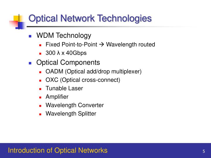 Optical Network Technologies