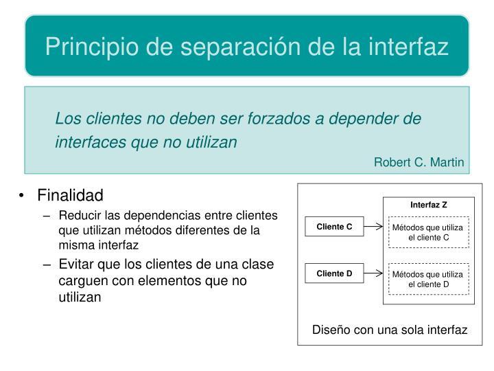 Principio de separación de la interfaz