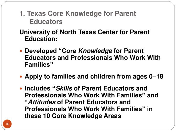 1. Texas Core Knowledge for Parent Educators