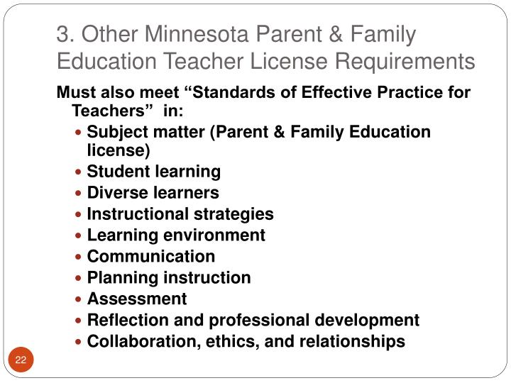 3. Other Minnesota Parent & Family Education Teacher License Requirements