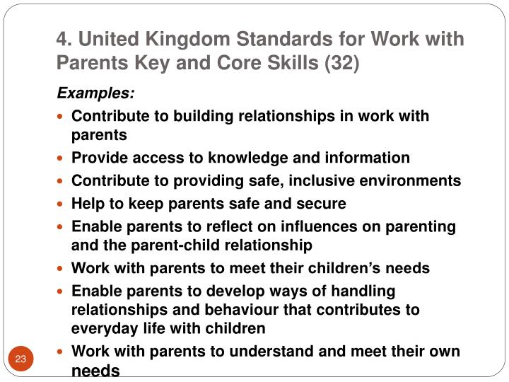4. United Kingdom Standards for Work with Parents Key and Core Skills (32)
