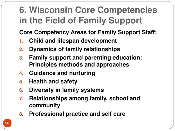 6. Wisconsin Core Competencies in the Field of Family Support