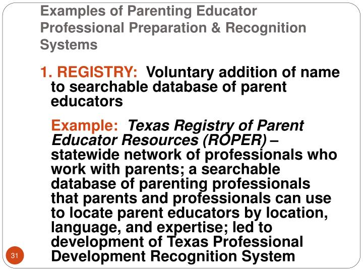 Examples of Parenting Educator Professional Preparation & Recognition Systems