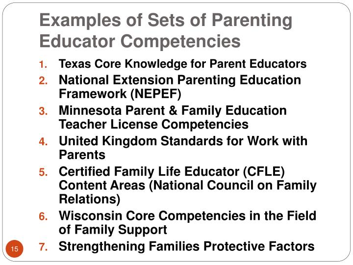 Examples of Sets of Parenting Educator Competencies