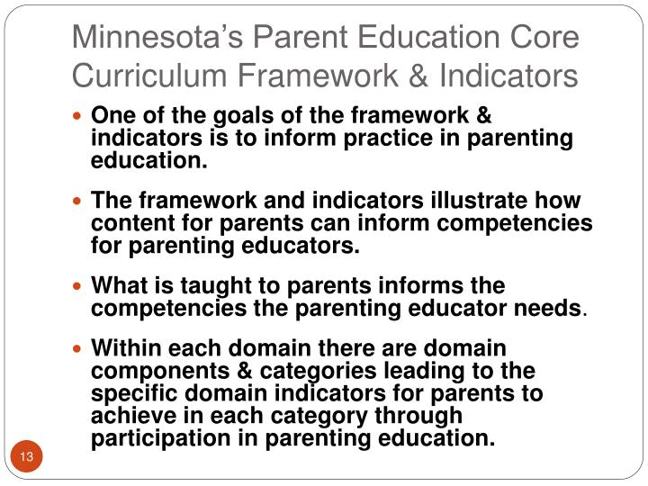 Minnesota's Parent Education Core Curriculum Framework & Indicators