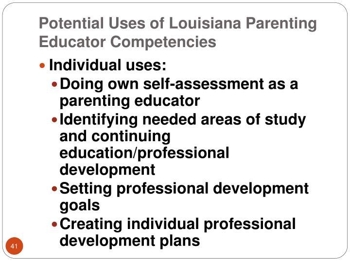 Potential Uses of Louisiana Parenting Educator Competencies