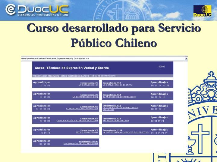 Curso desarrollado para Servicio Público Chileno