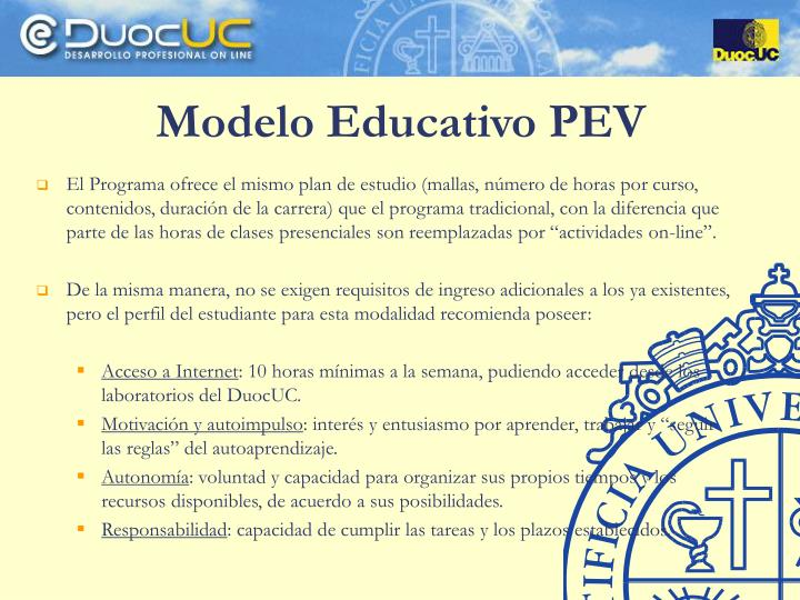 Modelo Educativo PEV