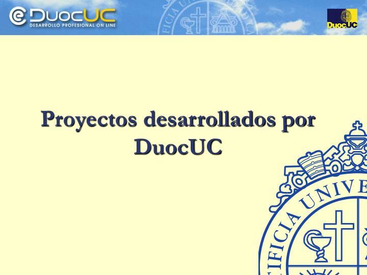 Proyectos desarrollados por DuocUC