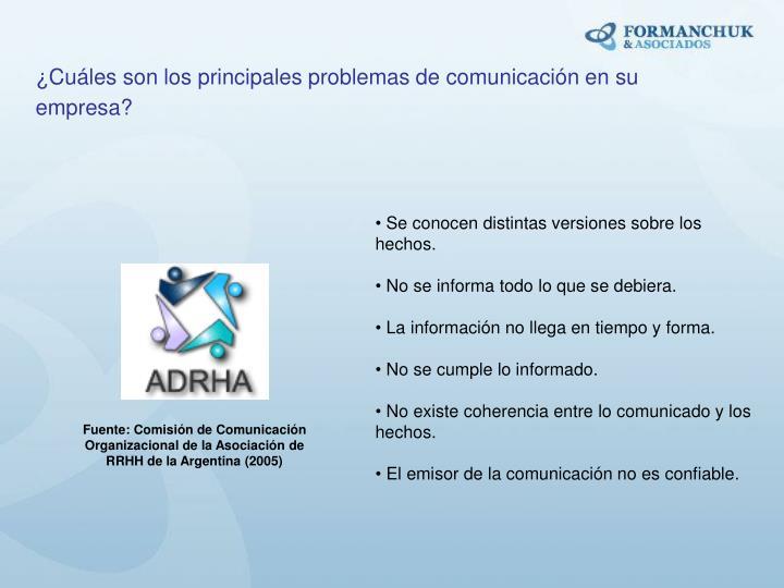 ¿Cuáles son los principales problemas de comunicación en su empresa?