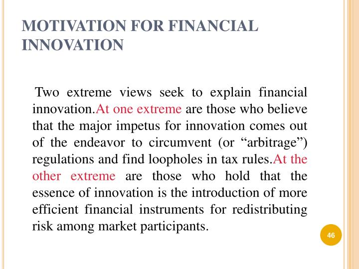 MOTIVATION FOR FINANCIAL INNOVATION