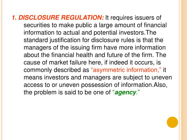 1. DISCLOSURE REGULATION: