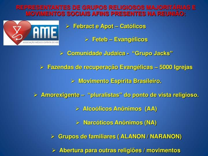 REPRESENTANTES DE GRUPOS RELIGIOSOS MAJORITÁRIAS E MOVIMENTOS SOCIAIS AFINS PRESENTES NA REUNIÃO: