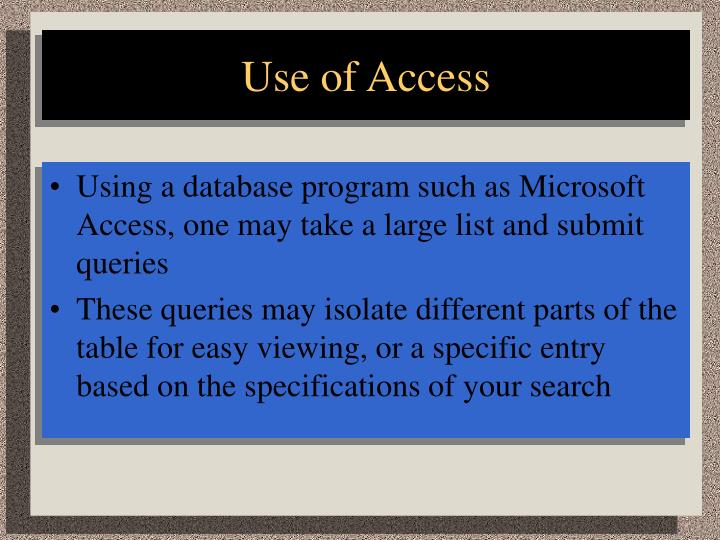 Use of Access