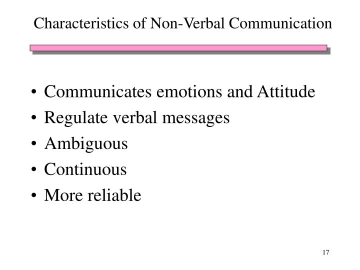 Characteristics of Non-Verbal Communication