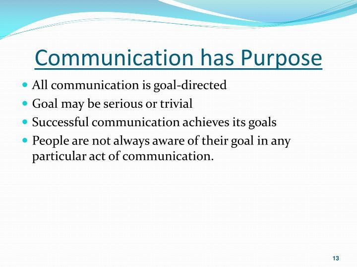 Communication has Purpose