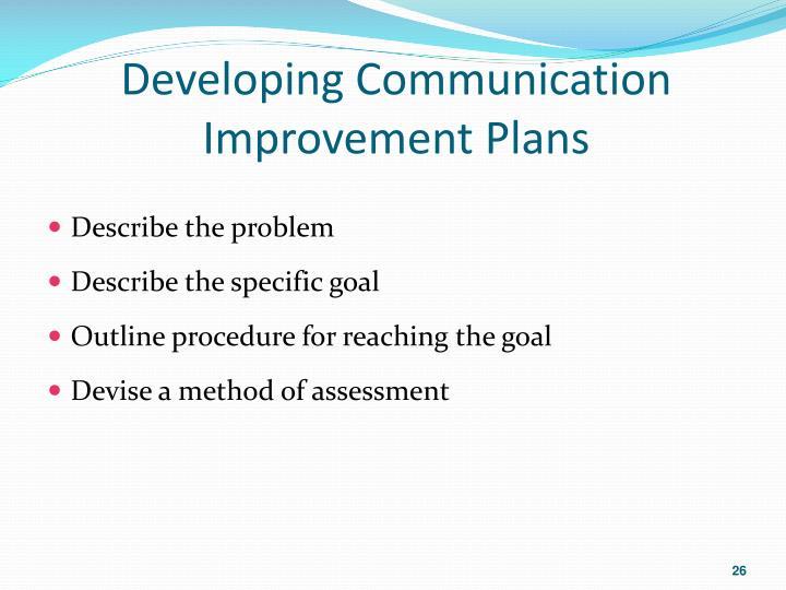 Developing Communication Improvement Plans