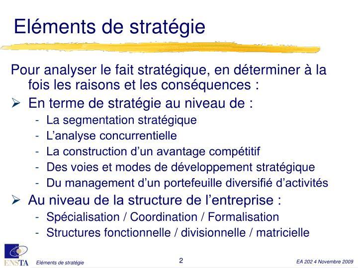 Eléments de stratégie