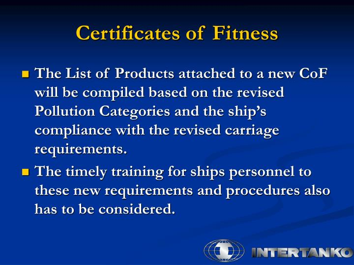 Certificates of Fitness