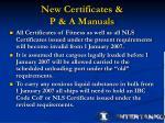 new certificates p a manuals