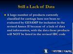 still a lack of data