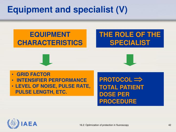 Equipment and specialist (V)