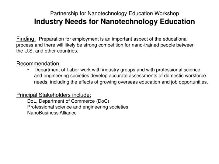Partnership for Nanotechnology Education Workshop