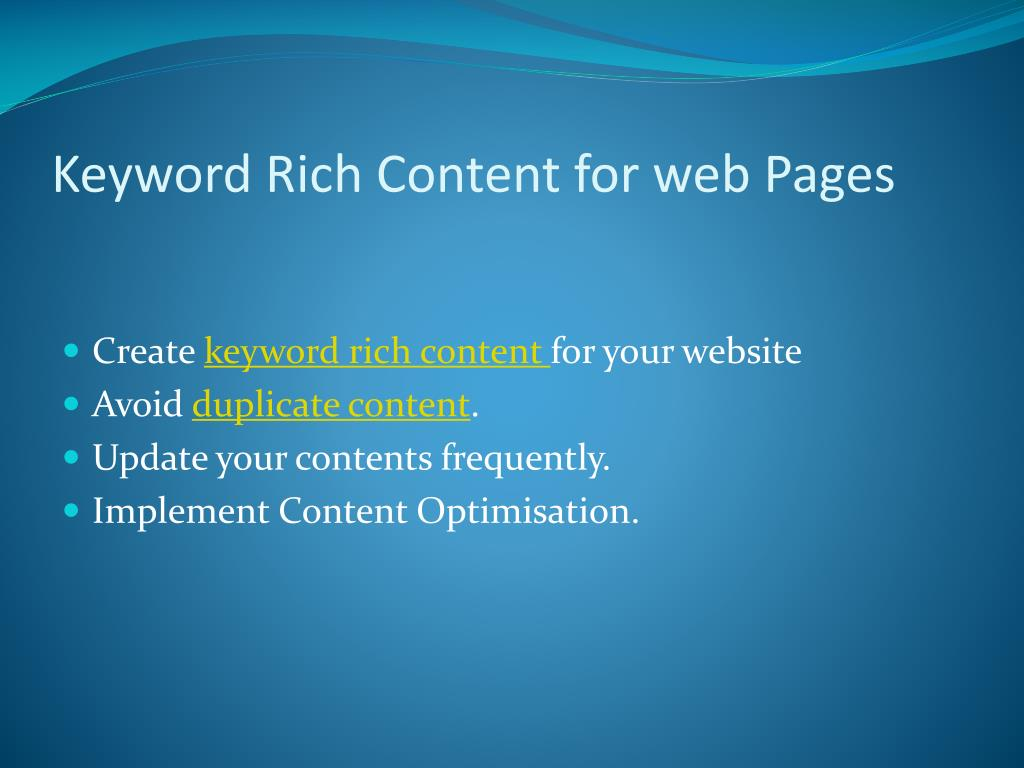 Keyword Rich Content for web Pages
