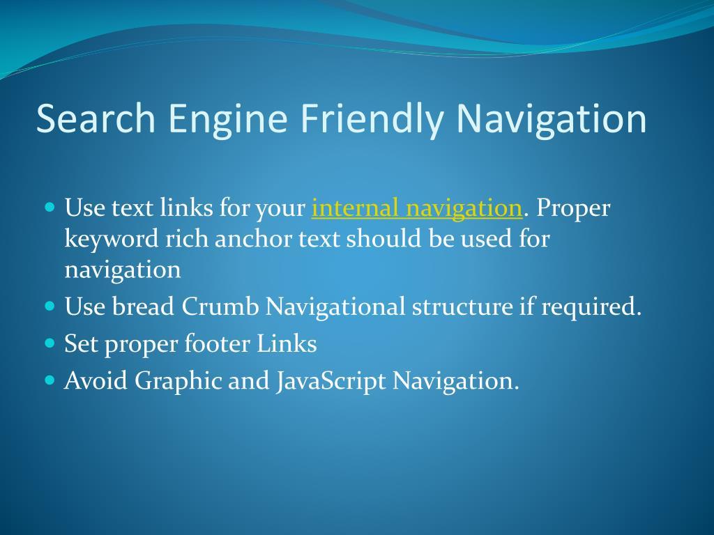 Search Engine Friendly Navigation